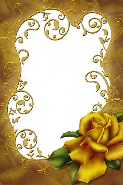 Рамка для фото - Золотая роза