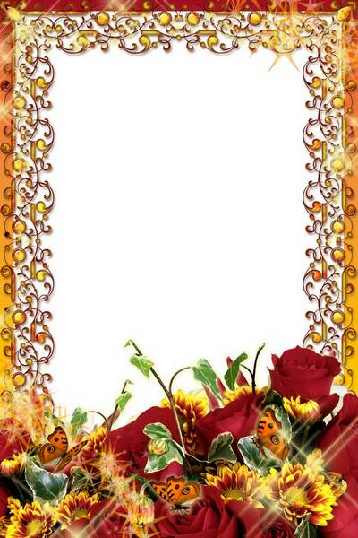 Frames for photoshop - Gold and flowers