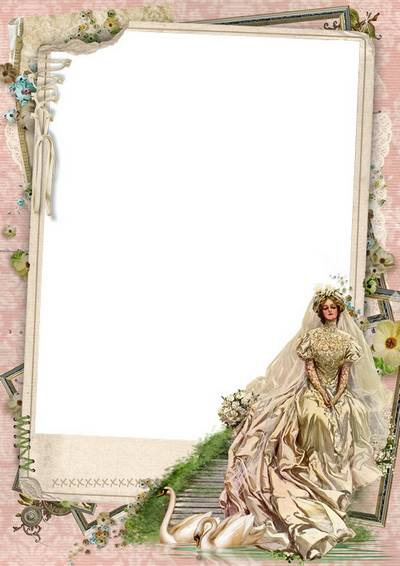Wedding photo frame template, layered PSD file + 5 PNG frames, different backgrounds, Vintage bride