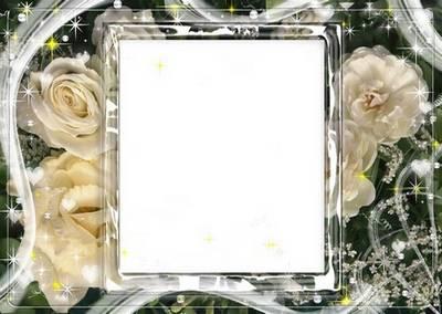 Рамка для фото - Белые розы