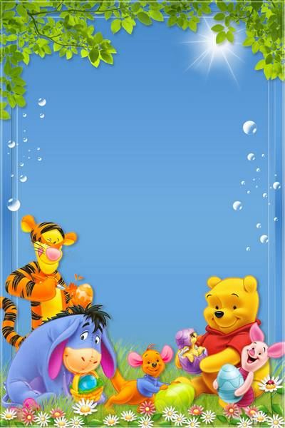 Children's Easter Frame for Photoshop - Winnie the Pooh and all, all, all