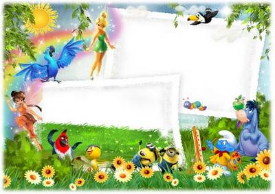 Children Photoshop frame PSD template - On the sunny meadow