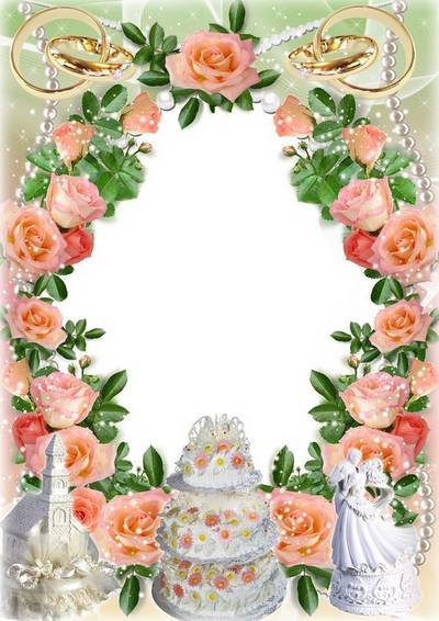Flower frame for wedding photos - We are happy together