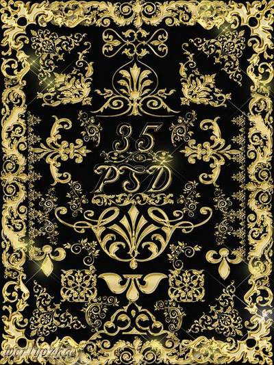Clipart psd is Collection of gold decorative psd ornaments patterns