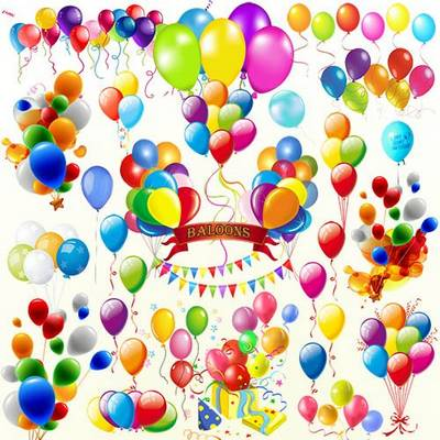 Clipart psd file - balloons, 25 elements (separate layers),  ~ 4000х4000 px