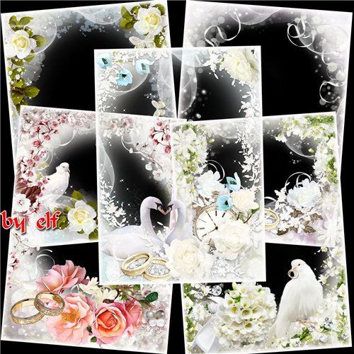 Wedding photo frame set  - 6 PNG photo frames happy Wedding, 3508х4961 px | 300 dpi download