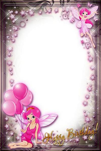 Holiday Frame for Girls - Happy Birthday with Pink Fairies