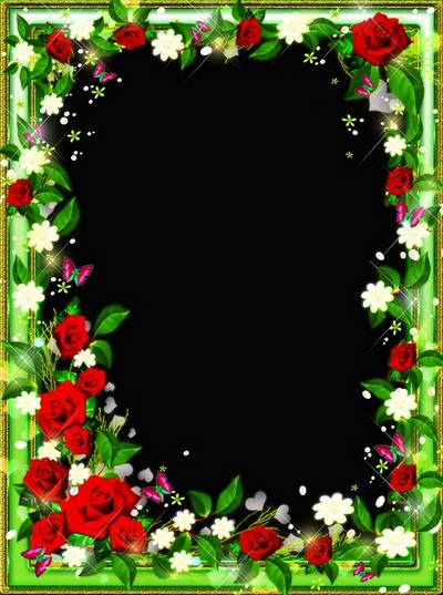 Floral frame for a photo -  Roses a tender aroma beckons in dreamy distances