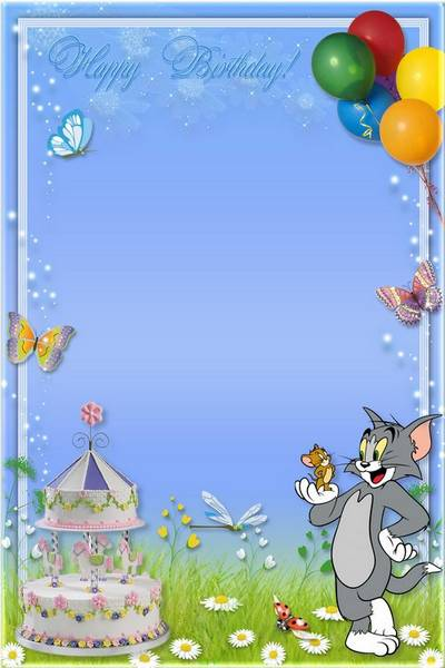 Kid's Photoframe with Tom and Jerry - Happy Birthday!