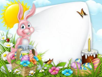 Easter Photoshop frame psd file with Bunny Pink - 2 variants photo frames, layered psd file download