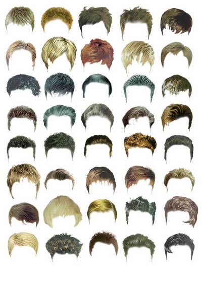 Great set psd - hair, hairstyles, wigs, male hair, female hair, 14 psd files, 369 layers hairstyles download