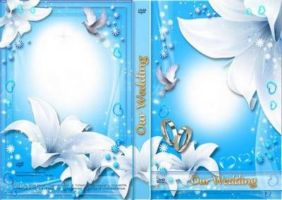 Air Wedding Set: Photoframe, DVD Cover and disk - White Lilies and Doves