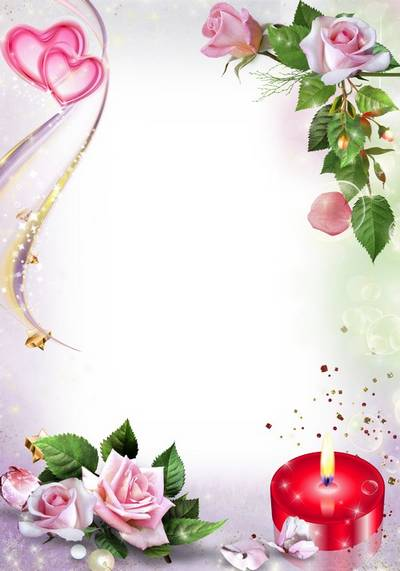 Delicate frame for wedding and romantic photo - Love and roses candle