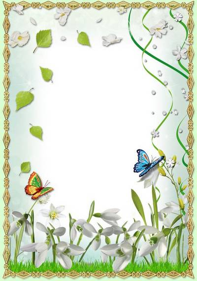 Spring Frame for Photoshop - Tender snowdrops heralds of spring