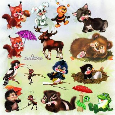 A set of clip art for Photoshop - Forest residents