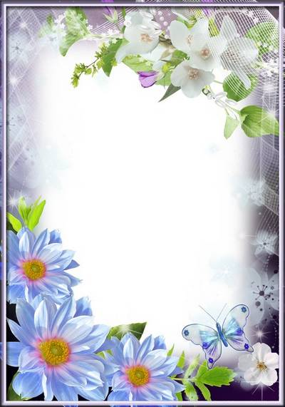 Spring Frame for Photoshop - blue dahlias and flowering sprig of jasmine