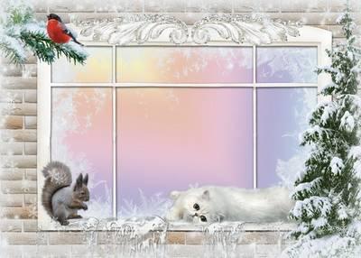 Two winter-Christmas frame - Frosty window