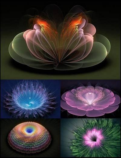 Clip art PNG images Fractal flowers - 12 PNG images magic fractal, 3000x2000 px, rar 155 mb