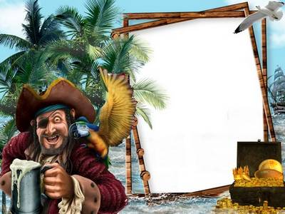 Male Photoshop frame for photo sea travelers, gold, pirate, parrot, and beer? maybe rum? :)