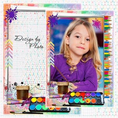 Children photoshop frame psd temlate with paints, brush and pencils