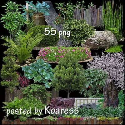 Free Clipart PNG images Landscaping - 55 PNG Trees, flower beds, stones, bushes, flower beds on a transparent background