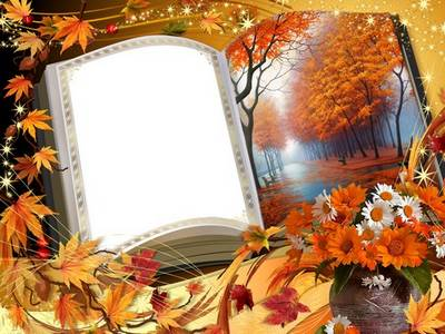 Frame - Autumn leaves flying on the page