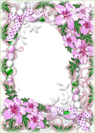 Main › Free photo frames › Nature › - Flower › Flower frame - silver lily flowers