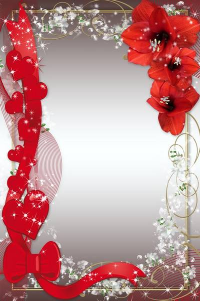 Frame for Lovers - Red Flowers, Veil and Hearts