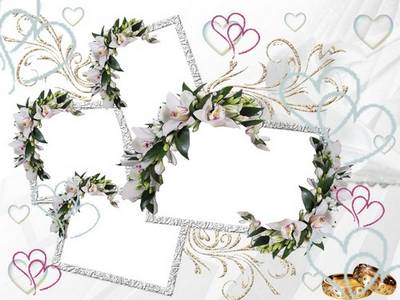 Wedding Photo Frame with stunning lilies - I wish you happiness