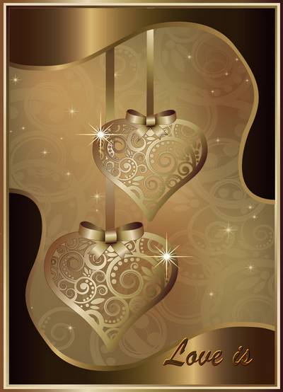 Psd source - Hearts with ornament on a gold background