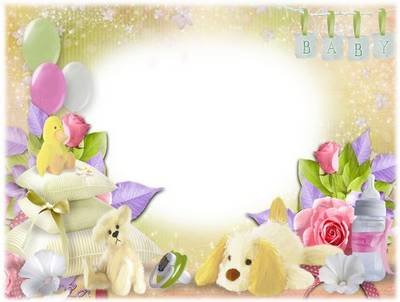Children PSD frame with a pacifier, teddy bear, dog, balloons and flowers.