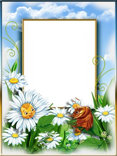 Free Photoshop frame psd file with daisies