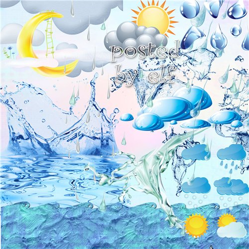Clipart PNG images - 32 png Water, rain, clouds +  80 png  alphabet water on a transparent background download