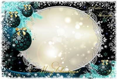 Frame for Photoshop - White snowflakes, Christmas tree and Christmas balls