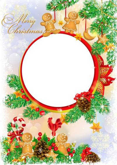 Christmas frame for Photoshop - Fluffy fur-tree and bumps
