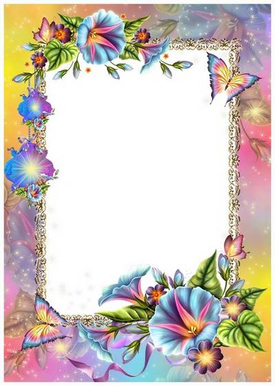 Frame for Photoshop - morningglory and wonderful butterfly