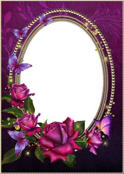 Frame for Photoshop - Luxury Roses in a blaze of gold