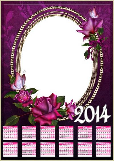 Calendar Frame for 2014 - Beautiful roses and butterflies
