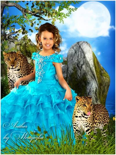 Children's template for Photoshop - Girl with leopards