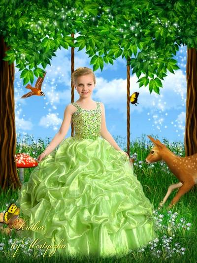 Girl in a smart green dress, fairy forest - Child template for Photoshop
