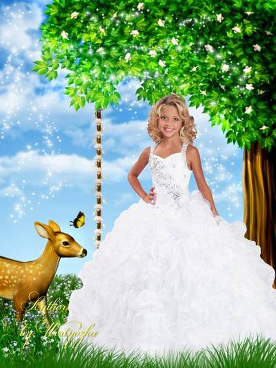 Children's template for Photoshop - Girl in a white dress and a baby deer