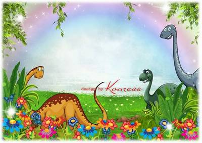 Children Photoshop framework PSD file - Dinosaurs