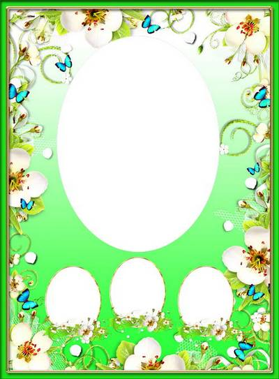 Free Vignette photo frame psd - Spring flowers and butterflies free download