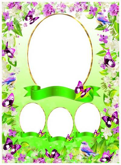 Free Vignette photo frame psd decorated with flowers of lilac and wonderful butterflies free download