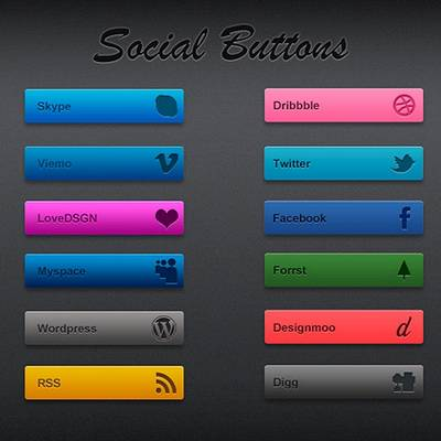 Social Buttons for the website, PSD file + 48 PNG images Buttons and Buttons Pressed