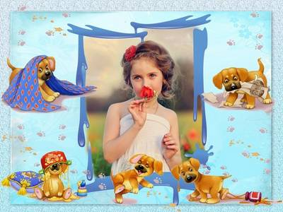 Photo frame psd template for baby photo with funny puppy