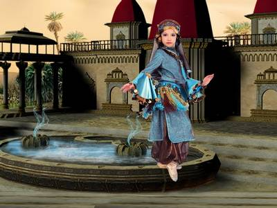 Child suit PSD - girl Dance at the fountain