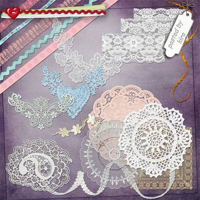 Clipart PNG images - 180 PNG Lace, ribbons, napkins on a transparent background