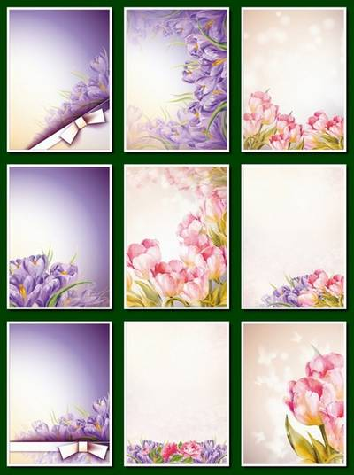 Flower Backgrounds - 20 png images A4  for decoration art works