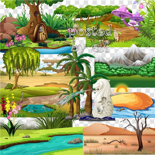 Clipart PNG Images Landscape - 55 PNG elements on a transparent background